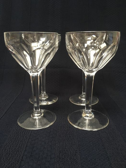 Val Saint Lambert - four wine glasses - Model Osram - Belgium - 20th century