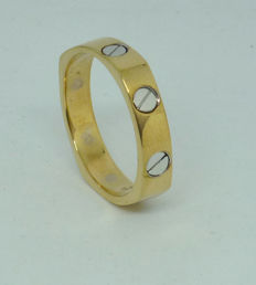 K14 yellow and white gold Men's ring with - size: 66