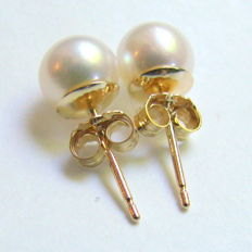 Earrings with cultured pearls smooth white  colour, with 14k Yellow gold, diameter  5,5mm class AAA
