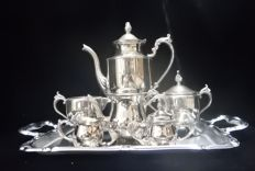 Large and small 7piece Silver plated coffee set
