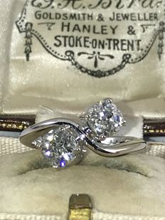 18k You and me old cut diamonds ring  approx  1,80ct