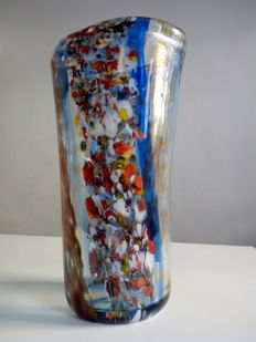 F. Seguso - coloured glass vase with murrine and aventurine