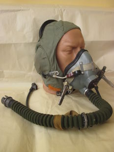 Original russian pilot   helmet with oxygen mask - 1985 year