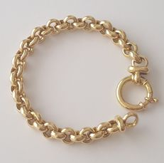 18 kt yellow gold cable link bracelet - Length: 20 cm