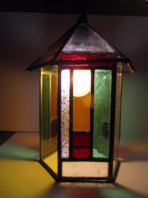 Beautiful stained glass hall lamp - approx. 1920 related to Amsterdam School