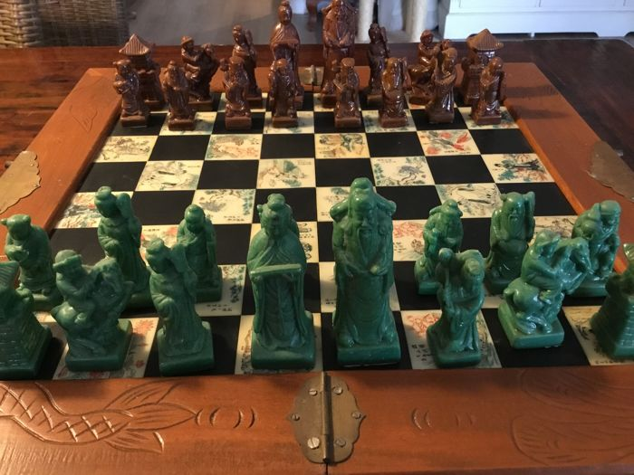 Old Chinese chess game, late 1960s, in wooden foldable storage box, which is also the board