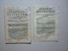 """O Occulto instruido"" that to lawful fun, and honest recreation the text was divided in different parts - 18 numbers - 1756/1757"