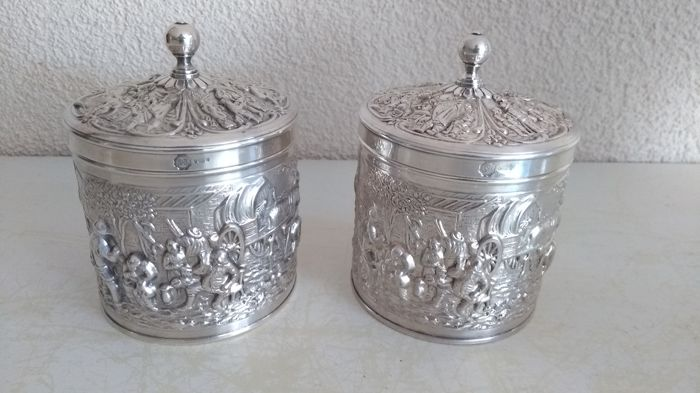 Two identical silver plated tea boxes, Douwe Egberts made by Herbert Hooijkaas.