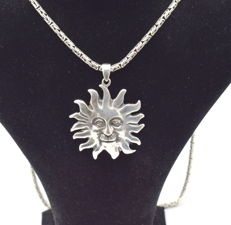 925 Italian sterling silver chain with Sun  pendant   - 65  cm