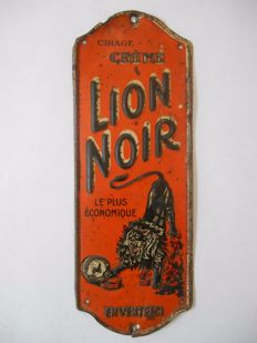 Rare metal door post sign of Lion Noir from 1920