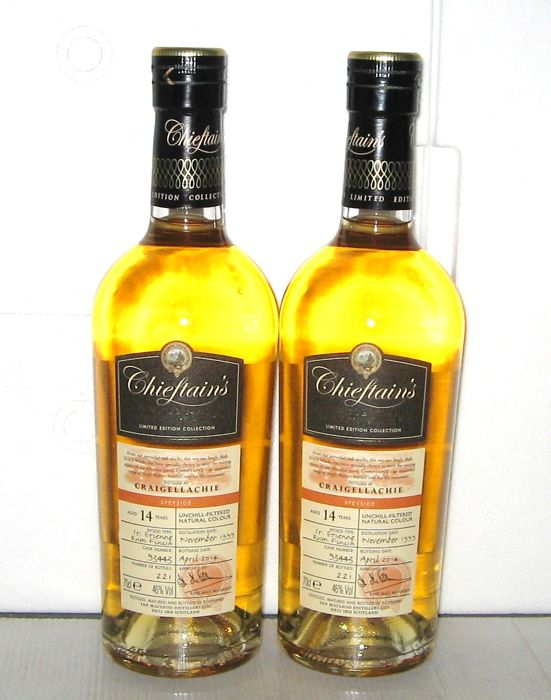 Craigellachie 1999 14 Years Old- Speyside - 70cl. - 46% - Chieftain's - lot of 2 Bottles