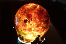 Amber Sphere with footed base - 55mm and 121gm
