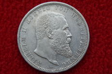 German Empire, Württemberg - 5 Mark 1906 F - silver