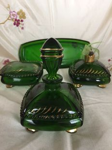 Art Nouveau green glass dressing table set with gold-plated accents
