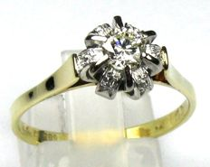 0.45 ct. Brilliant ring 14 kt / 585 yellow gold, size 60 / 19.1 mm