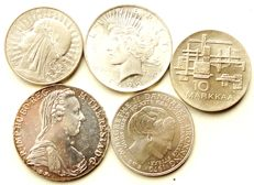 Europe - lot of different coins (1780)/1972 (5 pieces) - silver