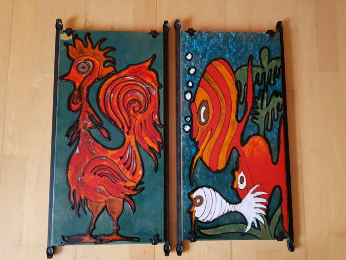 Gotto Rosso Forte, Two Heavy Pictures, Chicken and Fishes, Heili - Handmade - 75065