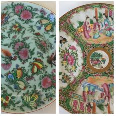 2 polychrome green plates - China - 19th century