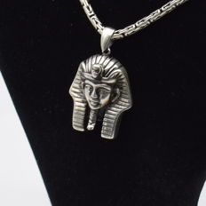 925 Italian sterling silver chain with Pharaoh  pendant - 65  cm