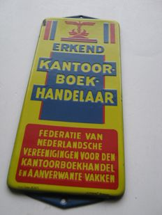 "Enamel Outdoor sign "" erkend Kantoorboekhandelaar "" ca. 1930"