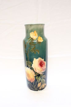MARLOTTE - Baluster vase in faience with decoration of dahlias on blue background