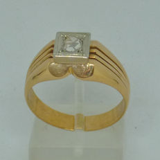 18K  yellow and white gold Men's ring with diamond,  size: 63,  Greece at mid 70's
