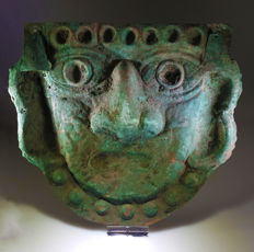 Life-Size Moche Copper Funerary Mask - H. 19,7CM