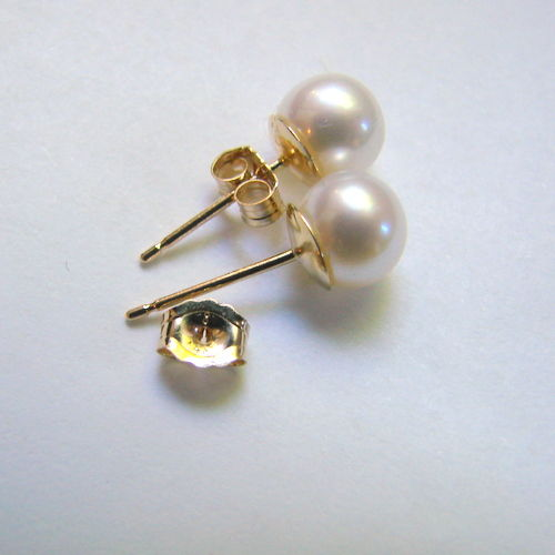 Earrings with pearls Akoya white shade colour, with 14k gold, diameter  5.5mm