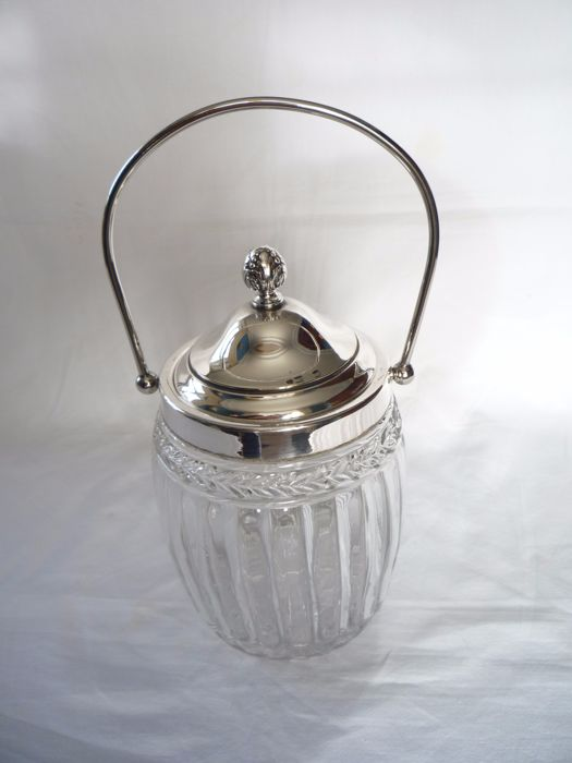 Glass ice bucket with silver plated lid and handle, France, ca. 1950