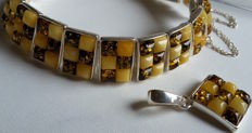 Set of pendant & bracelet lenght - 18.5 cm - Natural Baltic amber - 925 silver - UV test