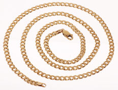 14 kt yellow gold curb necklace, solid executrion – 3.5 mm wide – 52 cm.