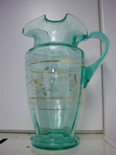 Pitcher in uranium glass