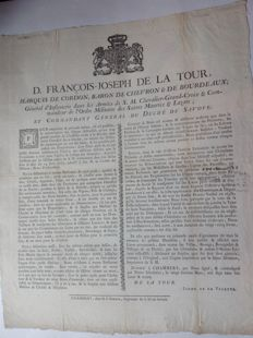 Défense de Chasser. Law of 14 June 1763 enacted by De La Tour, commandant Général du Duché de Savoie - 1773