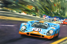 Porsche 917 Gulf Le Mans 1970 ORIGINAL Oil Painting on Canvas hand-made by Artist Andrea Del Pesco + COA.