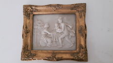 Alabaster plaque in gold-plated frame, second half 20th century