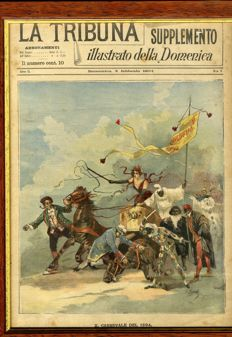 Carnival of Viareggio - Picture with cover of the Tribuna Illustrata della Domenica - 1894 - original - and eight sketches