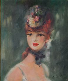 M Reverberi (20th century) Portrait of a French beauty.