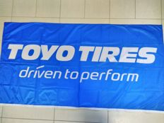 3+1 pieces Japan TOYO DRIVES - company flags / banner. TOYO car tire advertising. Unused.