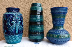 3 blue vases-1 Bay, 1 Bitossi, 1 without brand