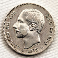 Spain - Alfonso XII - 1 Peseta silver coin - 1885*18-86 - Madrid