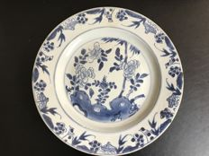 Blue white porcelain plate - China - 18th century