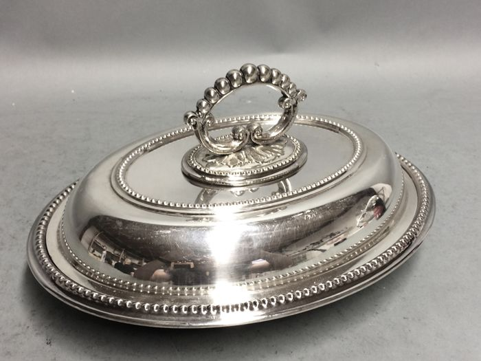 Silver plated double serving tray with removable knob, England, Brooks & Crooks, Sheffield, ca. 1885