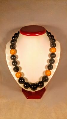 Baltic Amber Black with Egg yolk colour accent necklace, length 55 cm