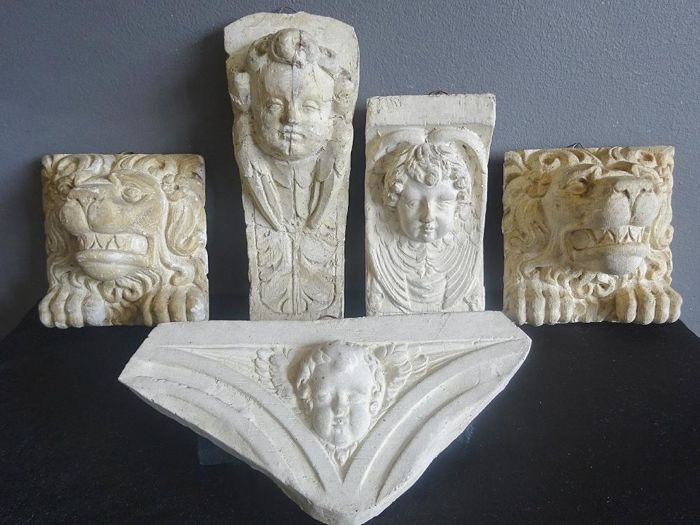 Lot of 5 old plaster cast ornaments, cherub heads and lion heads.