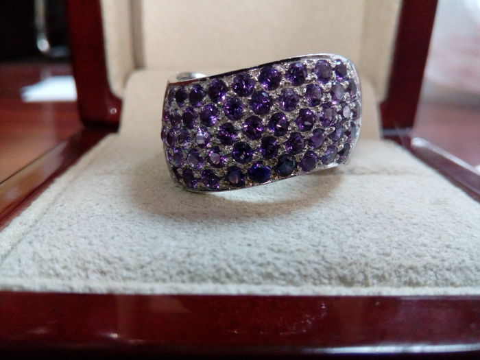 Cocktail ring - 18 kt white gold - Amethysts Ring size: N16
