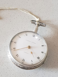 23. Eardly Norton - solid silver verge watch - quarter repetition on clock face - England 1790