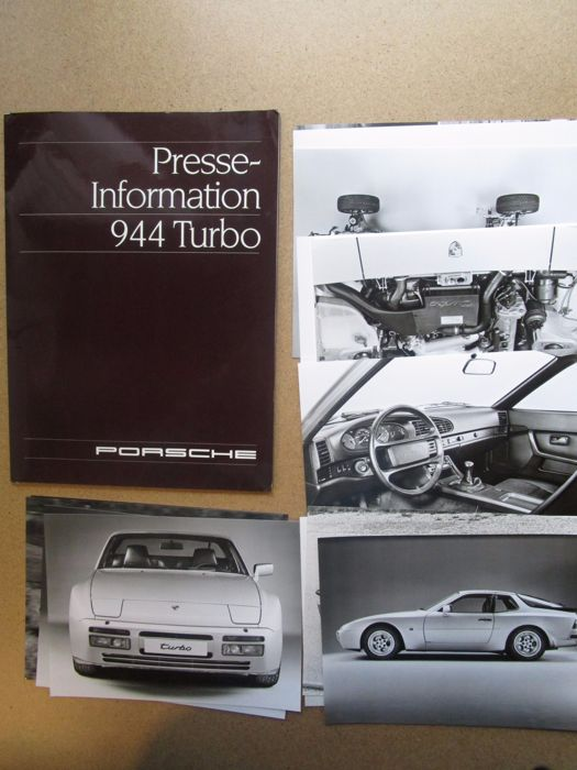 Porsche - Press kit for 944 Turbo with 2 books, 16 photos and 6 sheets - 1987