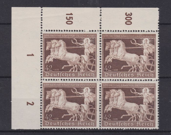 German Reich 1940 block of four on sheet - 7th Brown Ribbon - Unificato no. 670 - MNH