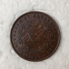 Portugual -- Monarchy -- D. Luis I -- XX Reis -- 1873 -- Bronze -- Rare in this condition