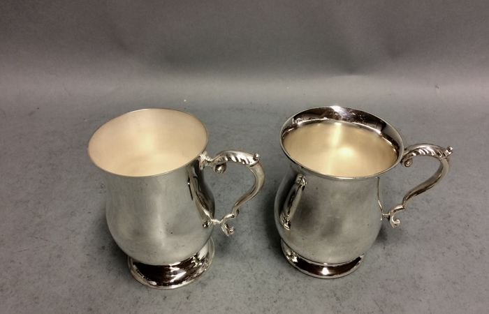 Two silver plated cups with silver plated handle, Barker & Ellis, Sheffield, England, ca 1930